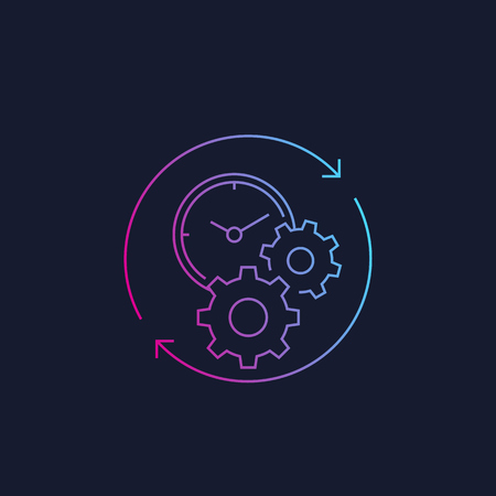 productivity linear vector icon with stopwatch and cogwheels
