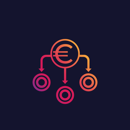 Financial diversification, diversified portfolio vector icon with euro