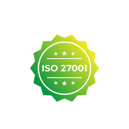 ISO 27001 standard, vector label Illustration
