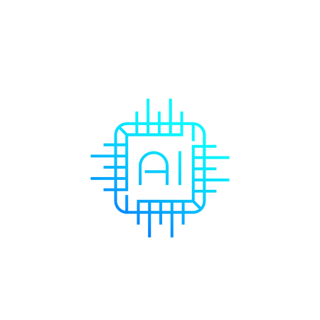 AI chipset, linear icon
