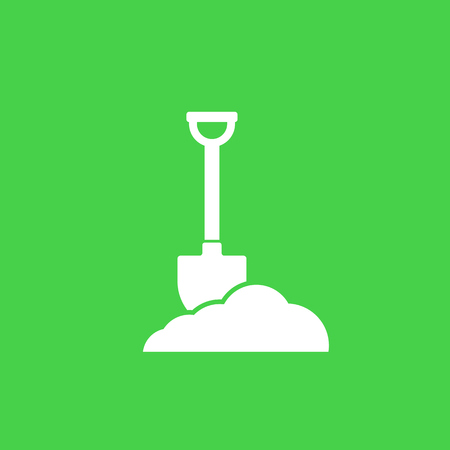 Shovel in dirt, vector icon