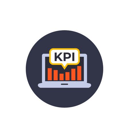 Icono de vector de KPI con portátil y análisis, estilo plano