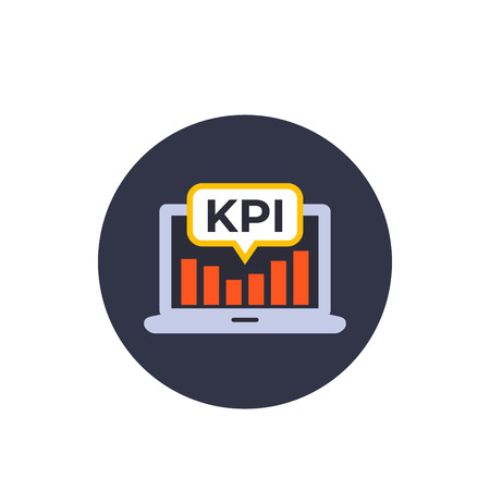 KPI vector icon with laptop and analytics, flat style