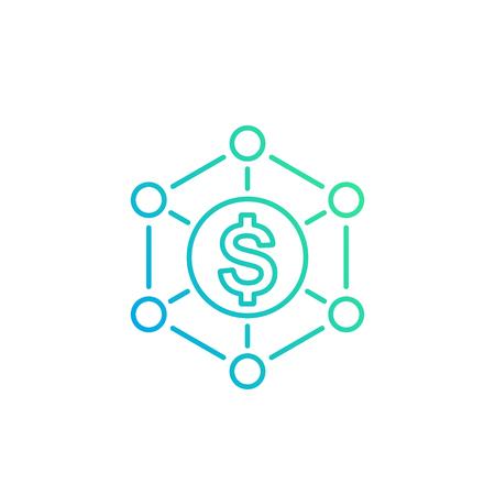 gestión del dinero, vector icono lineal Ilustración de vector