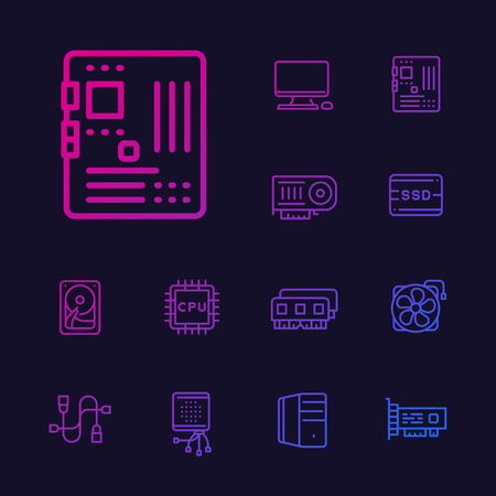 computer components icons set, motherboard, processor, RAM, HDD, SSD, video card, line vector