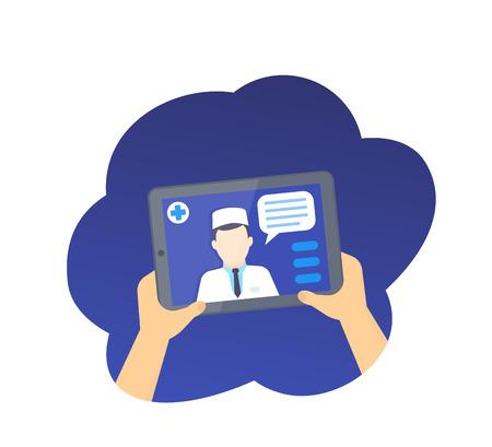 Diagnostic médical en ligne, consultation médicale sur écran de tablette, illustration vectorielle