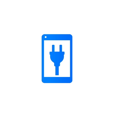 phone with electric plug on screen icon