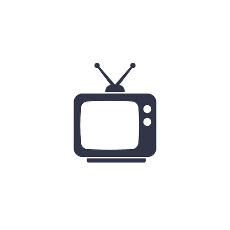 tv with antenna, old television icon on white  イラスト・ベクター素材