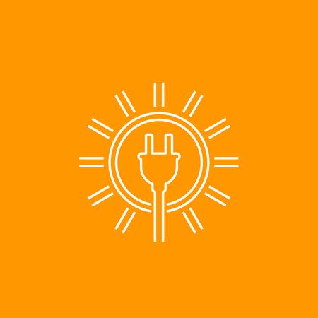 Solar energy, sun with electric plug, line icon Иллюстрация