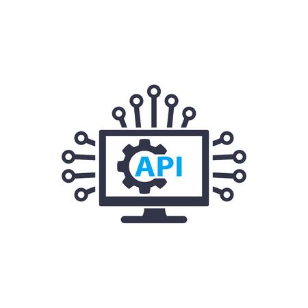 Icône de vecteur d'intégration d'API et de logiciels sur blanc