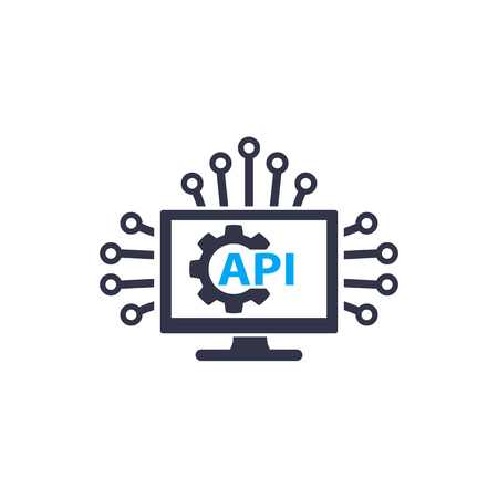 Icona di vettore di integrazione API e software su bianco