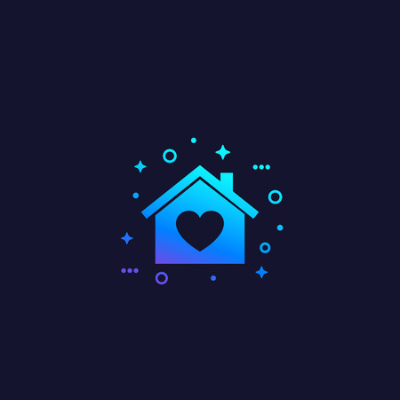 home with heart, vector Illustration