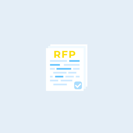 RFP, request for proposal, flat vector icon Illustration