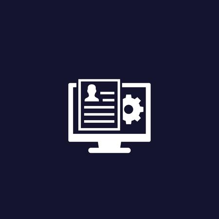 Human Resources software, app vector icon