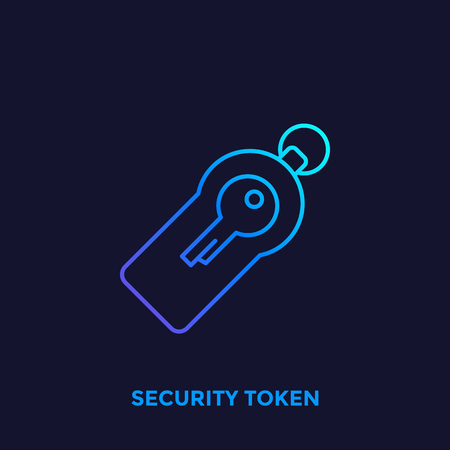 security token line vector icon