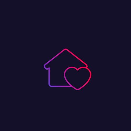 home with heart line icon
