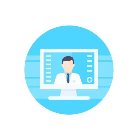 Online medical diagnosis vector icon
