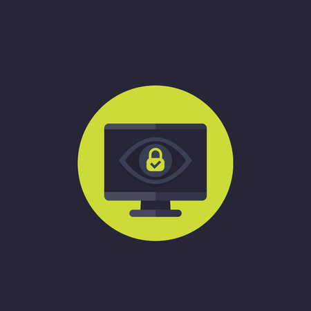 Parental control vector icon with eye and lock on screen