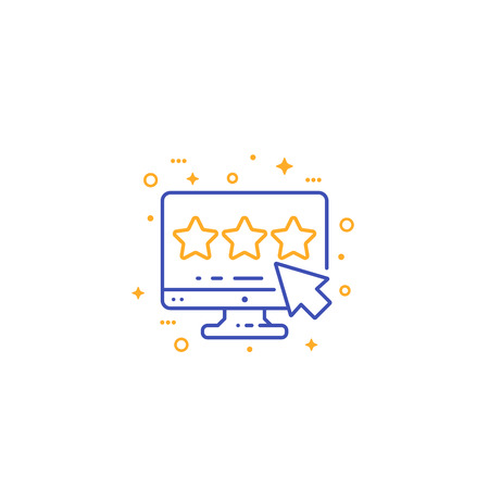 feedback and rating, line vector icon