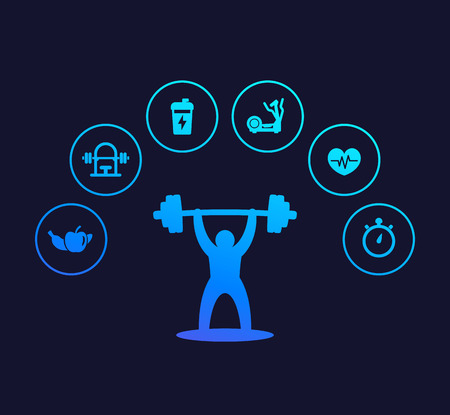 Fitness and training icons, gym and workout Illustration
