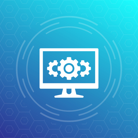 computer and cogwheels, gears icon, vector Ilustração