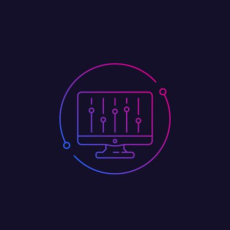 configuration, slider bar, vector linear icon Illustration