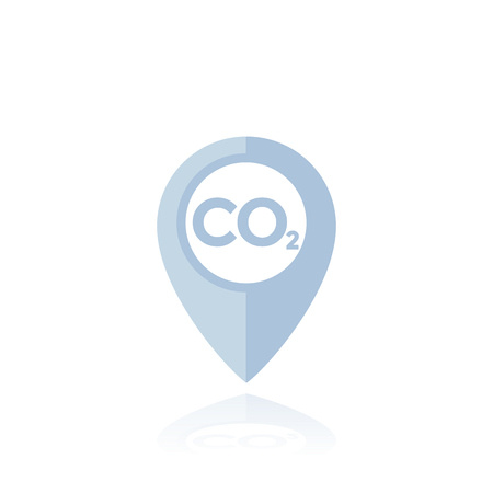 co2, carbon emissions marker, vector pin