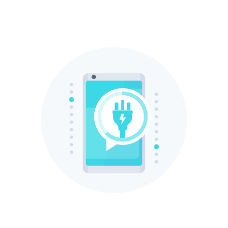 phone with electric plug, notification on screen, vector icon