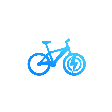 Electric bicycle icon, e-bike isolated on white, vector Illustration