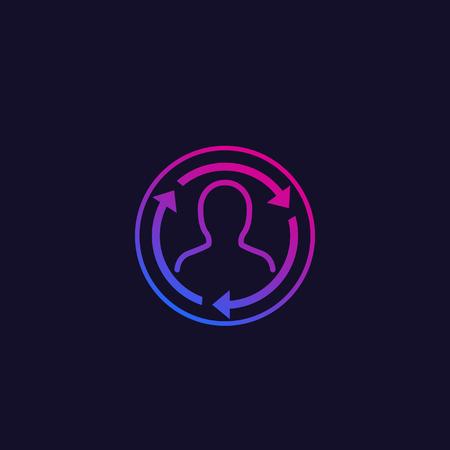 Staff rotation, vector trendy icon