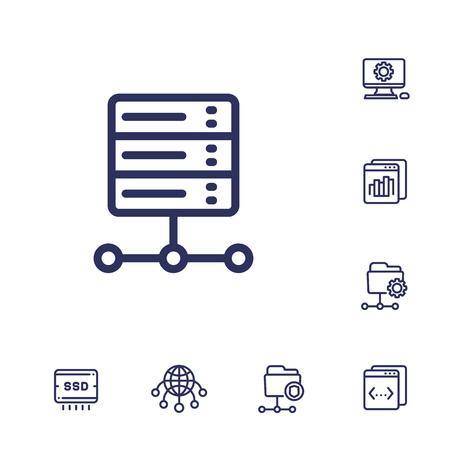 hosting, networks, ftp, servers, line icons