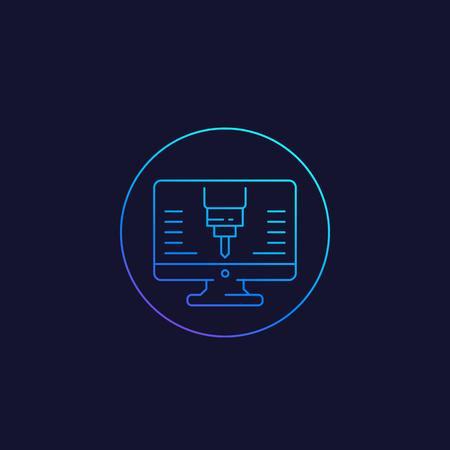 cnc line icon, vector