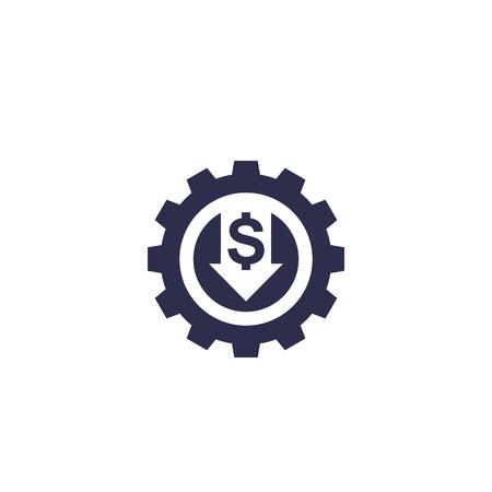 reducir, disminuir el costo, icono de vector