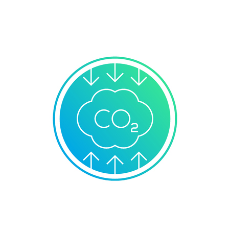co2, carbon emissions reduction, linear vector icon