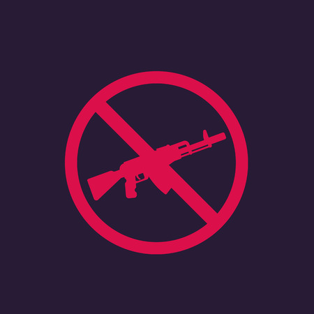 no guns sign with automatic rifle, vector for print and web Illustration