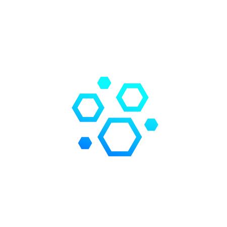 nanoparticles, hexagon nano molecules vector icon Illustration