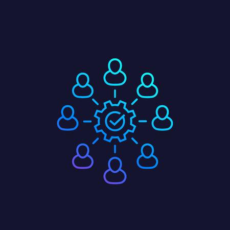 icône de ligne de coopération, de coworking et de travail d'équipe