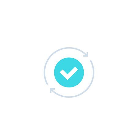 exchange, convertation completed icon with checkmark and arrows in circle