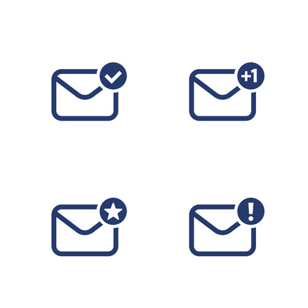 email, inbox, mail vector icons on white Illustration