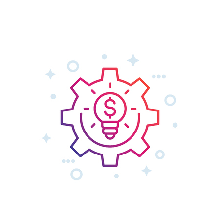 innovations, fintech line icon on white