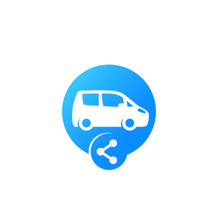 carsharing icon for web and apps, car and share sign Illustration