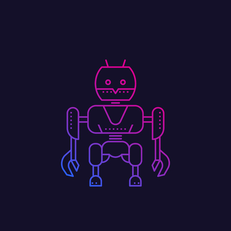 robot, line vector illustration
