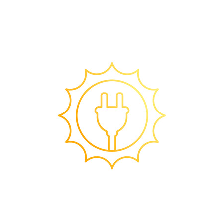 Solar energy, sun and electric plug, line icon on white