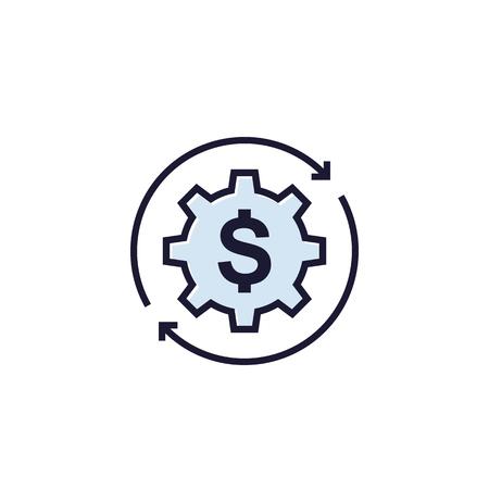 optimisation des coûts, icône vectorielle sur blanc Vecteurs