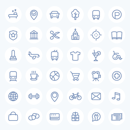 line icons set on white for maps, navigation apps and web, vector