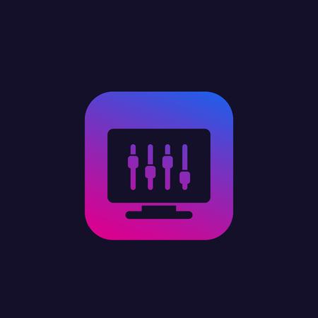 configuration, slider bar icon, vector Illustration