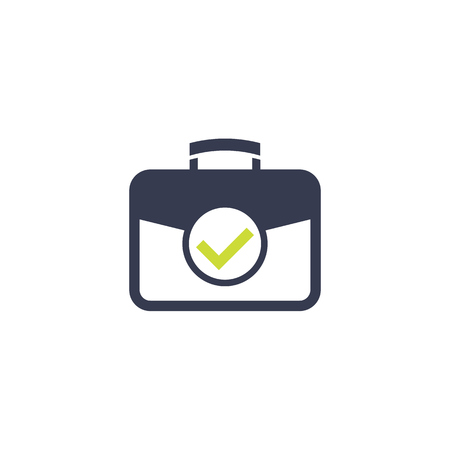 portfolio vector icon with checkmark Illustration