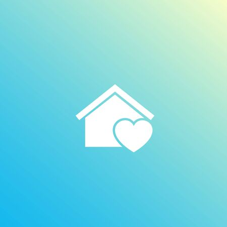 home with heart logo design, vector icon Ilustrace