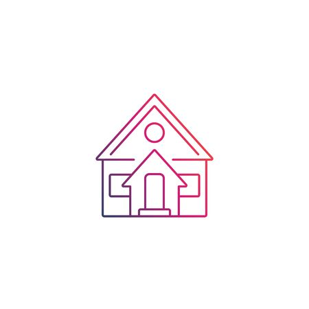 residential house linear icon on white Illustration