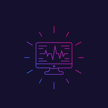 ecg, heart diagnostics icon, linear style vector